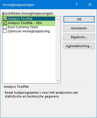 Installeren Analysis toolpak
